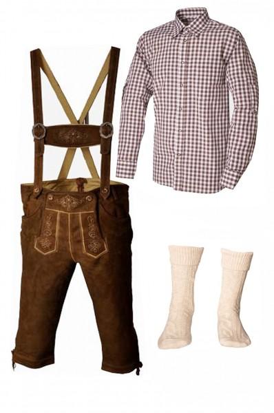 Trachtenlederhosen-Set 4-tlg. Kniebund hellbraun mit braunem Hemd von Fuchs