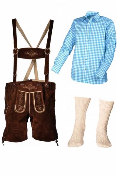 Trachtenlederhosen-Set 4-tlg. kurz braun mit türkisem Hemd
