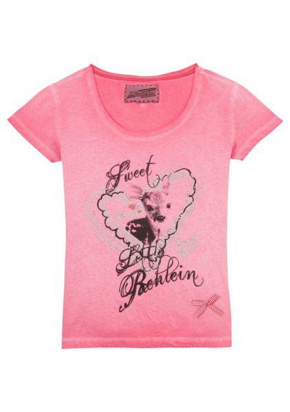 B-Ware / 2. Wahl - Trachtenshirt Damen rosa Rehlein Andreas Gabalier Kollektion by Hangowear