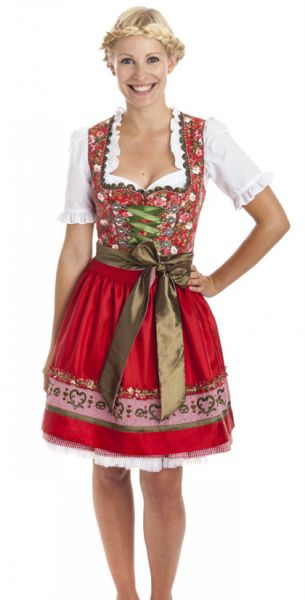 Dirndl mini 50 cm Dream of Roses rot Krüger