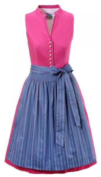 Dirndl midi hochgeschlossen 60 cm Uehlfeld pink blau hochgeschlossen Turi Landhaus