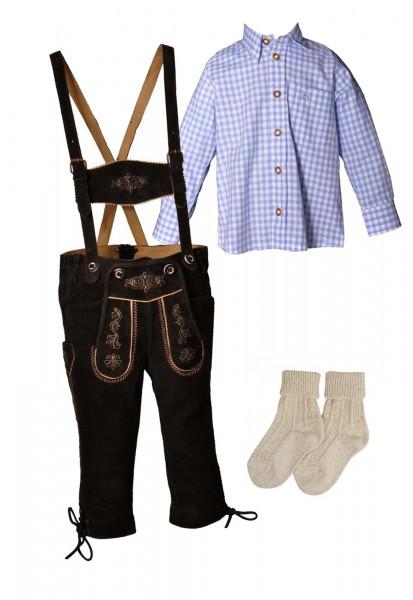 Kinder Trachtenlederhosen-Set 4-tlg. kniebund dunkelbraun von Lekra mit hellblauem Hemd von OS Trach