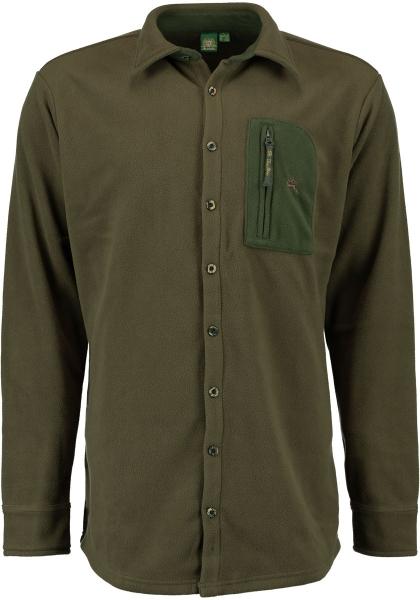 Trachtenhemd Jagd-Fleecehemd Langarm Plankenfels grün Slim Fit OS Trachten