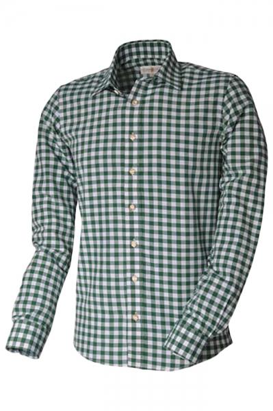 Trachtenhemd Basti Langarm grün Karo Almsach
