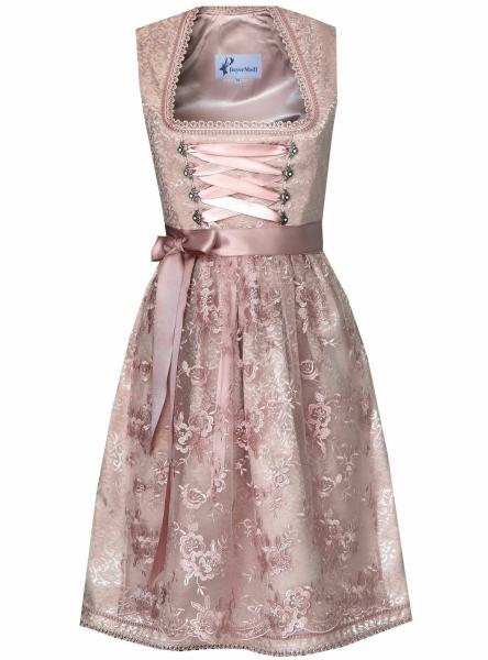 Dirndl midi 65 cm Zolling rosa mit Spitzenschürze Bayer Madl