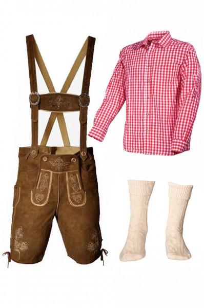 Trachtenlederhosen-Set 4-tlg. kurz hellbraun mit rotem Hemd von Fuchs