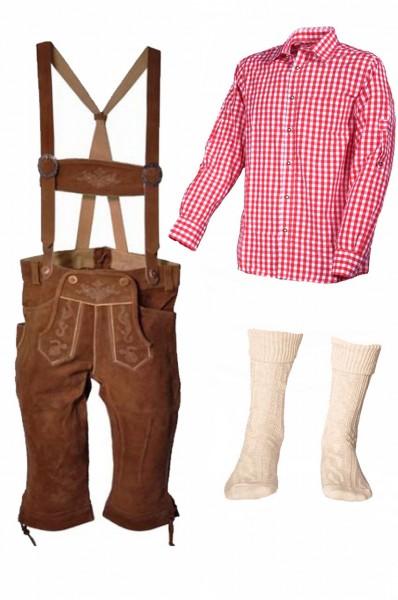 Trachtenlederhosen-Set 4-tlg. Kniebund hellbraun mit rotem Hemd