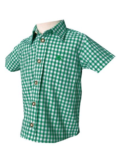Kinder Trachtenhemd Ronny grün kurzarm OS-Trachten