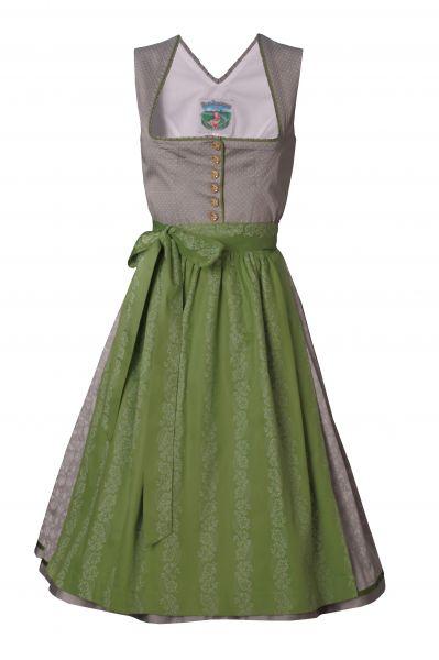 Dirndl midi 70 cm Beatrice silbergrau/grün Turi Landhaus