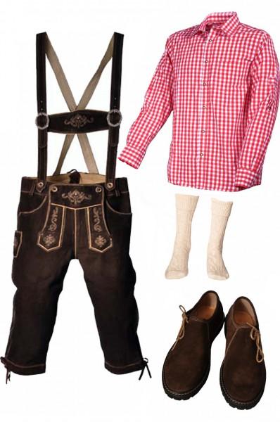 Trachtenlederhosen-Set 5-tlg. Kniebund dunkelbraun mit rotem Hemd und Schuhen von Fuchs