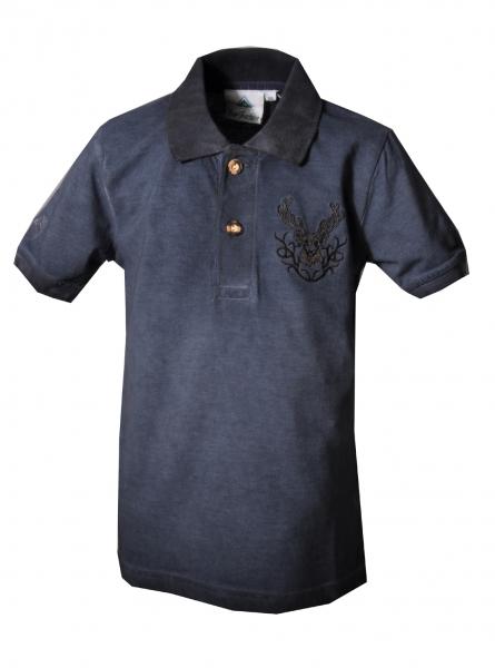 Kinder Trachten Polo Shirt Glött blau Isar Trachten
