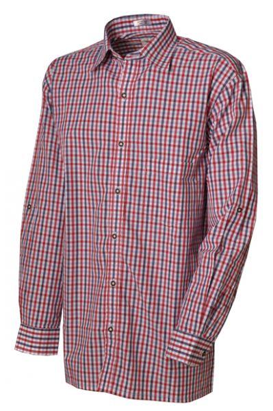 Trachtenhemd Alex Langarm marine/rot Karo Isar Trachten