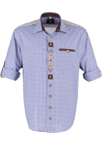 Trachtenhemd Tacherting kornblau blau Krempelarm OS-Trachten