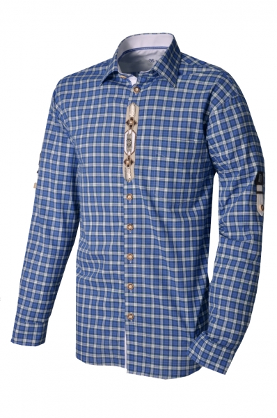 Trachtenhemd Mitterfels blau kariert Krempelarm OS-Trachten