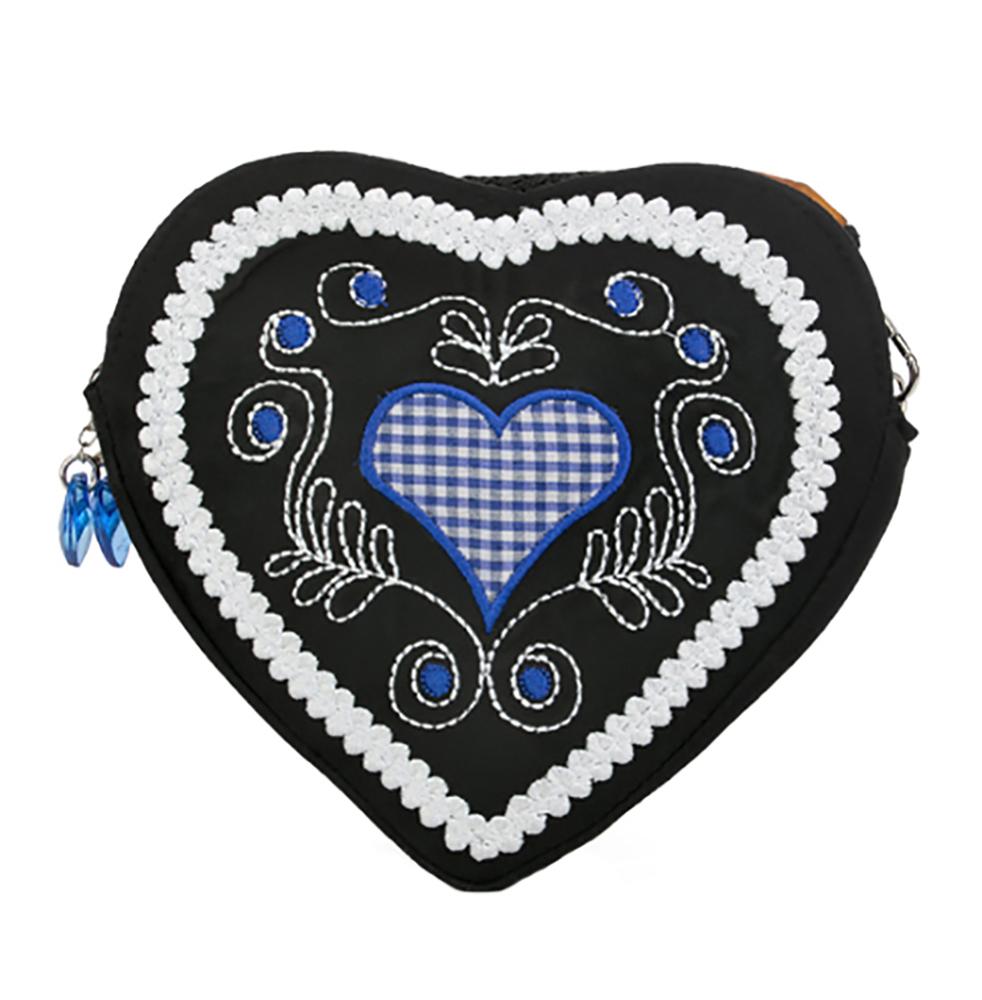 trachtentasche dirndltasche tasche herz schwarz blau karoherz und stickerei ebay. Black Bedroom Furniture Sets. Home Design Ideas