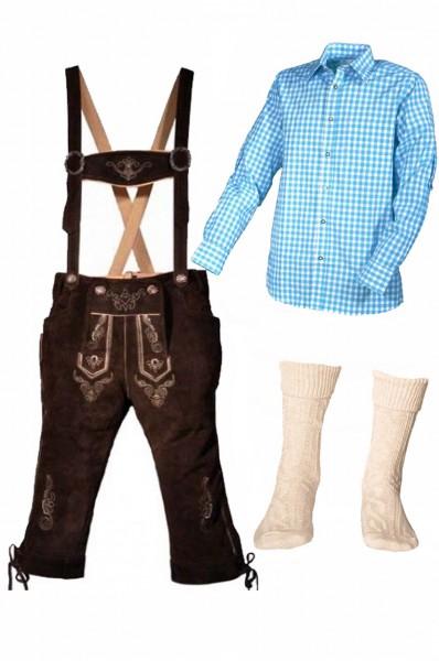 Trachtenlederhosen-Set 4-tlg. Kniebund dunkelbraun mit türkisem Hemd