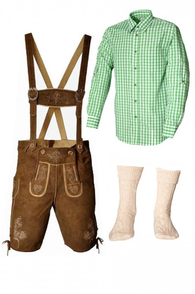 Trachtenlederhosen-Set 4-tlg. kurz hellbraun mit grünem Hemd von Fuchs