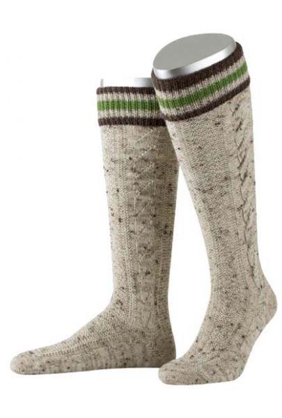 Trachten Kniebundstrumpf beige meliert grün braun handgezogene Zöpfe