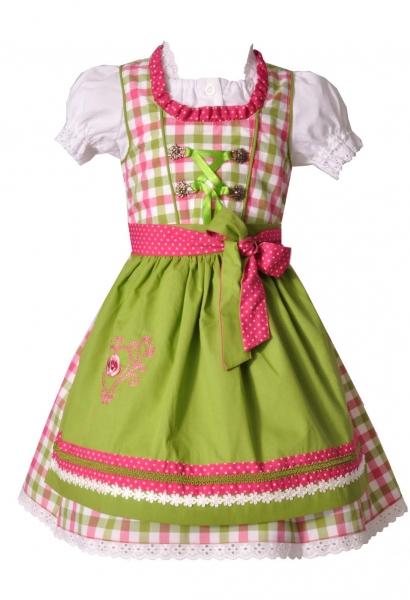 Kinderdirndl Hohenfurch grün/pink karo Trachtenset 3-tlg v. Bayer Madl