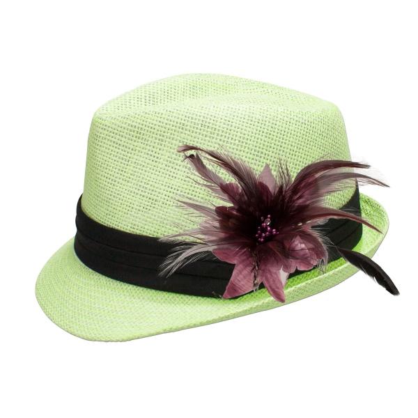 Trachten-Strohhut hellgrün Feder helles lila