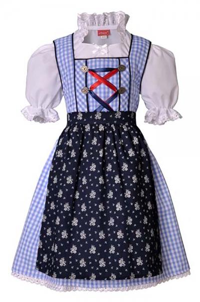 Kinderdirndl Mina hellblau/dunkelblau 3-tlg. Trachtenset