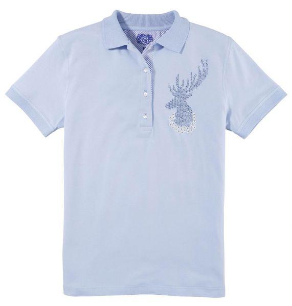 B-Ware / 2. Wahl - Trachten Poloshirt T-Shirt Wiesing hellblau blau Kurzarm OS Trachten