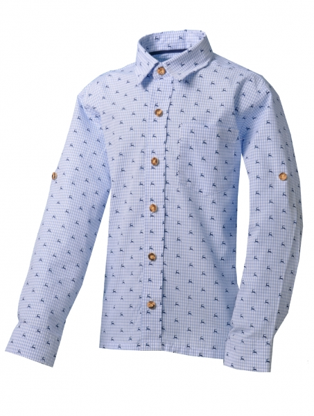 Kinder Trachtenhemd Falkenfels hellblau blau Karo Langarm Krempelarm Isar-Trachten