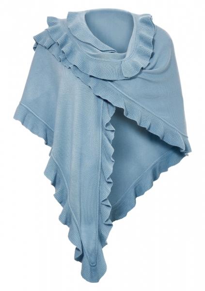 Trachten Poncho Gaißach hellblau blau Schal Stola Purset