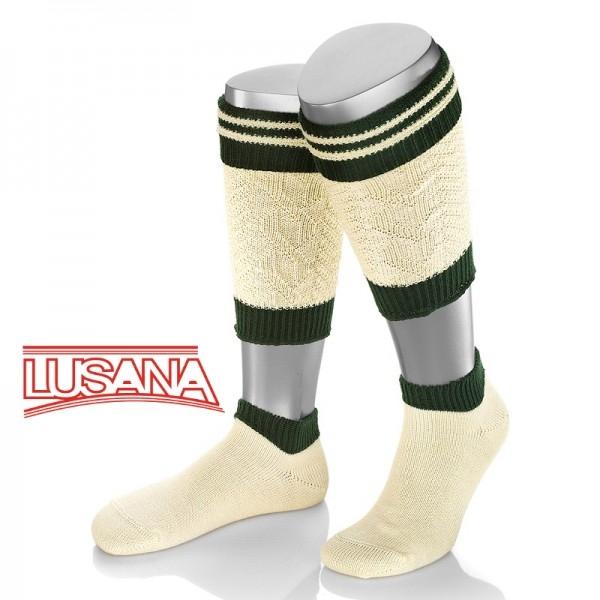 Loferl Wadenwärmer Socken Set natur/grün Lusana