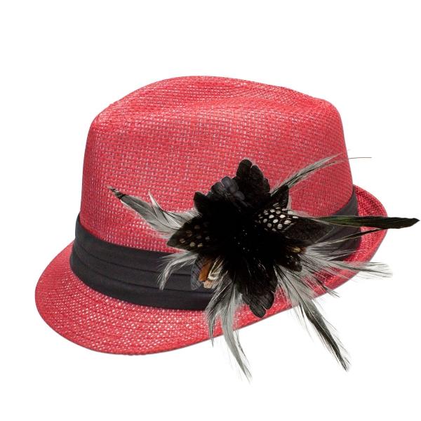 Trachten-Strohhut rot Feder-Clip schwarz