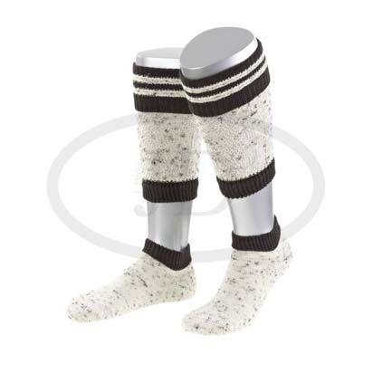 Trachtensocken-Wadenwärmer Loferl Tweed natur/braun