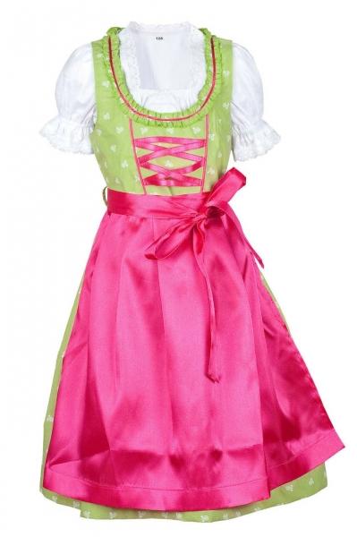 Kinderdirndl Huisheim hellgrün pink Trachtenset 3-tlg.