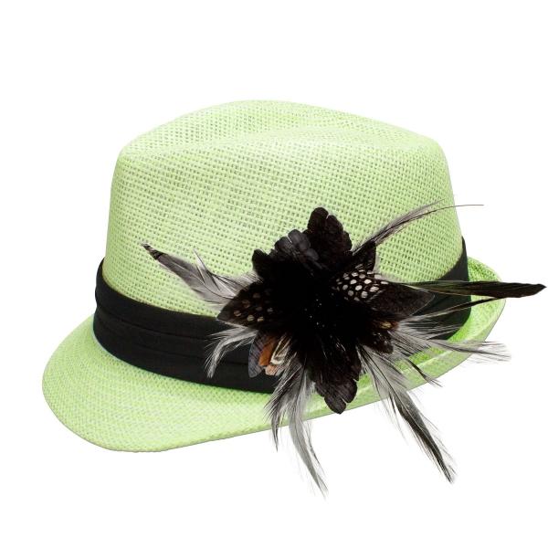 Trachten-Strohhut hellgrün Feder-Clip schwarz Alpenflüstern