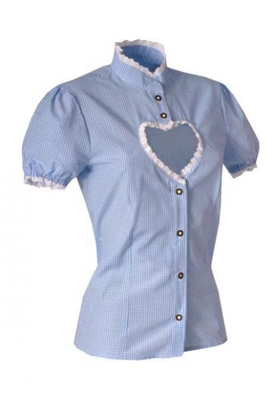 Trachtenbluse Helen blau Karo mit Herzausschnitt