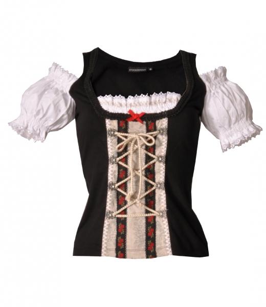 Trachten Shirt im Carmenstil Nidira schwarz Stockerpoint