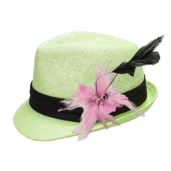 Trachten-Strohhut hellgrün Feder-Clip rose
