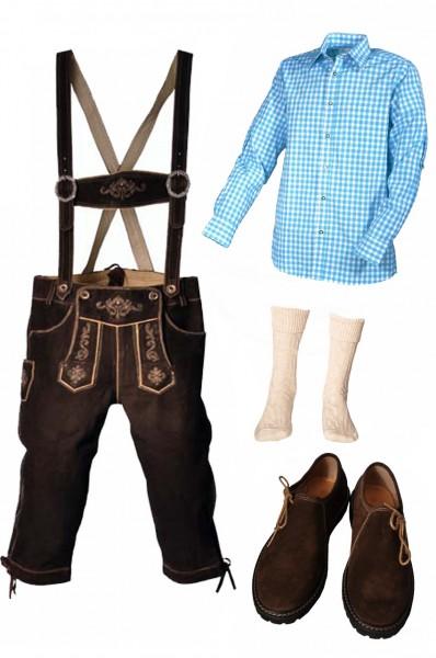 Trachtenlederhosen-Set 5-tlg. Kniebund dunkelbraun mit türkisem Hemd und Schuhen von Fuchs