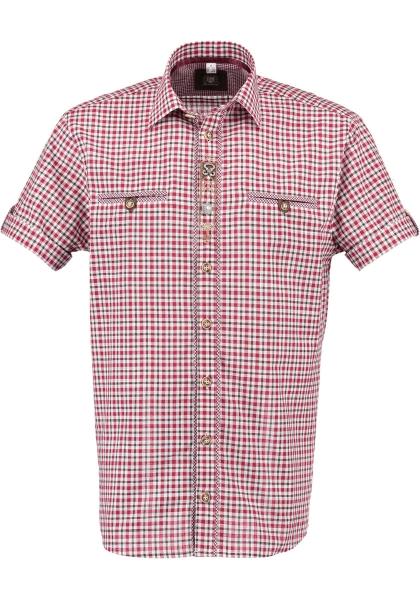 Trachtenhemd Bayerisch Eisenstein rot Karo Kurzarm OS Trachten