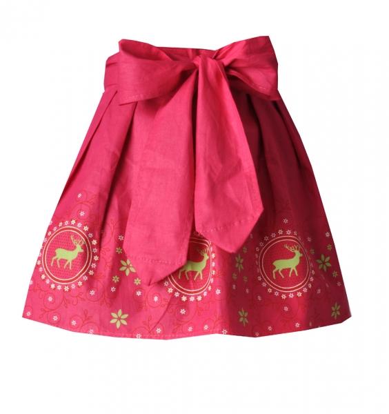 """Kinder Mädchen-Dirndlschürze pink mit """"Hirschen"""" grün"""
