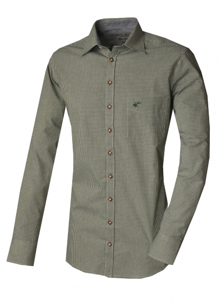 Trachtenhemd Paul grün khaki schlamm Karo Slim Fit OS Trachten