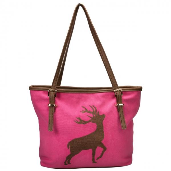 Trachten Handtasche Hirschstickerei pink