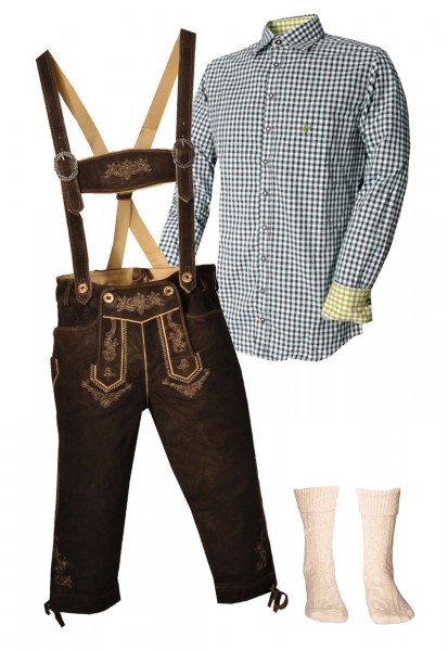Trachtenlederhosen-Set 4-tlg. Kniebund urig antik von Stockerpoint mit dunkelgrünem Hemd von OS Trac