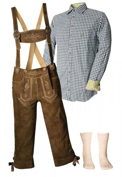 Trachtenlederhosen-Set 4-tlg. Kniebund torf antik von Stockerpoint mit dunkelgrünem Hemd von OS Trac