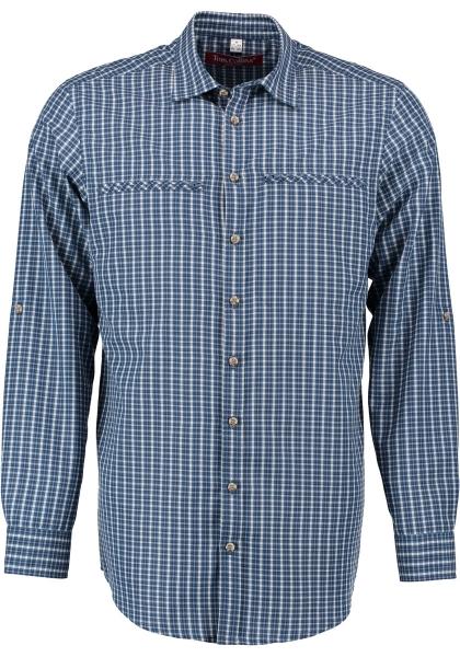 Trachtenhemd Faltern jeans blau Karo Krempelarm Regular Fit OS Trachten
