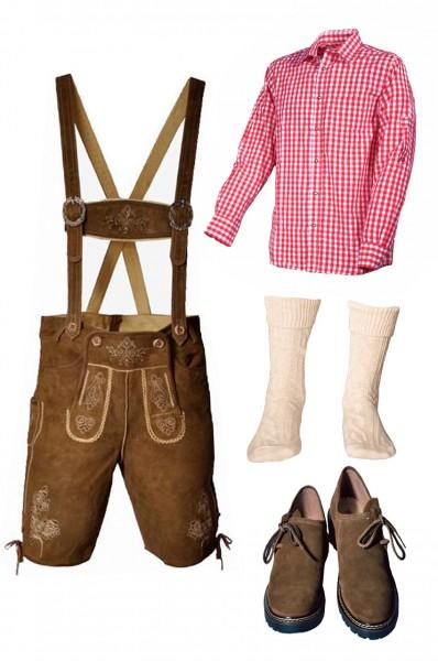 Trachtenlederhosen-Set 5-tlg. kurz hellbraun mit rotem Hemd und Schuhen von Fuchs
