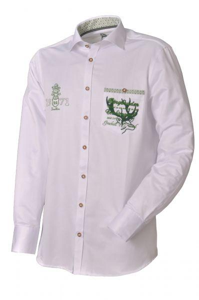 Trachtenhemd Gersthofen weiß/grün Slim Fit OS Trachten