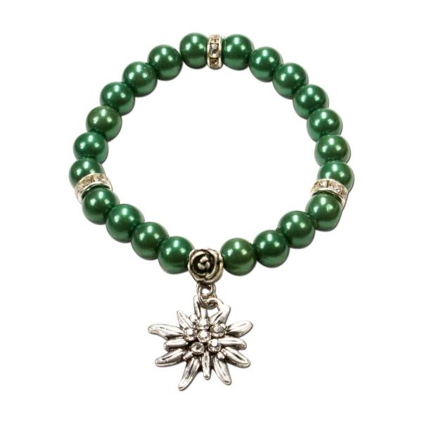 Trachten Armband Segnitz Edelweiß grün Wachsperlen