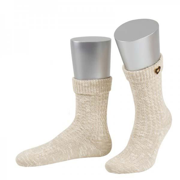 Trachtensocken Trachten Socken Hahnbach beige meliert Herzknopf JD