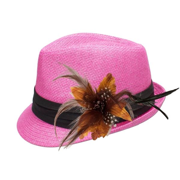 Trachten-Strohhut pink Feder-Clip braun