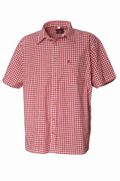 Trachtenhemd Alfons Kurzarm rot Karo OS Trachten